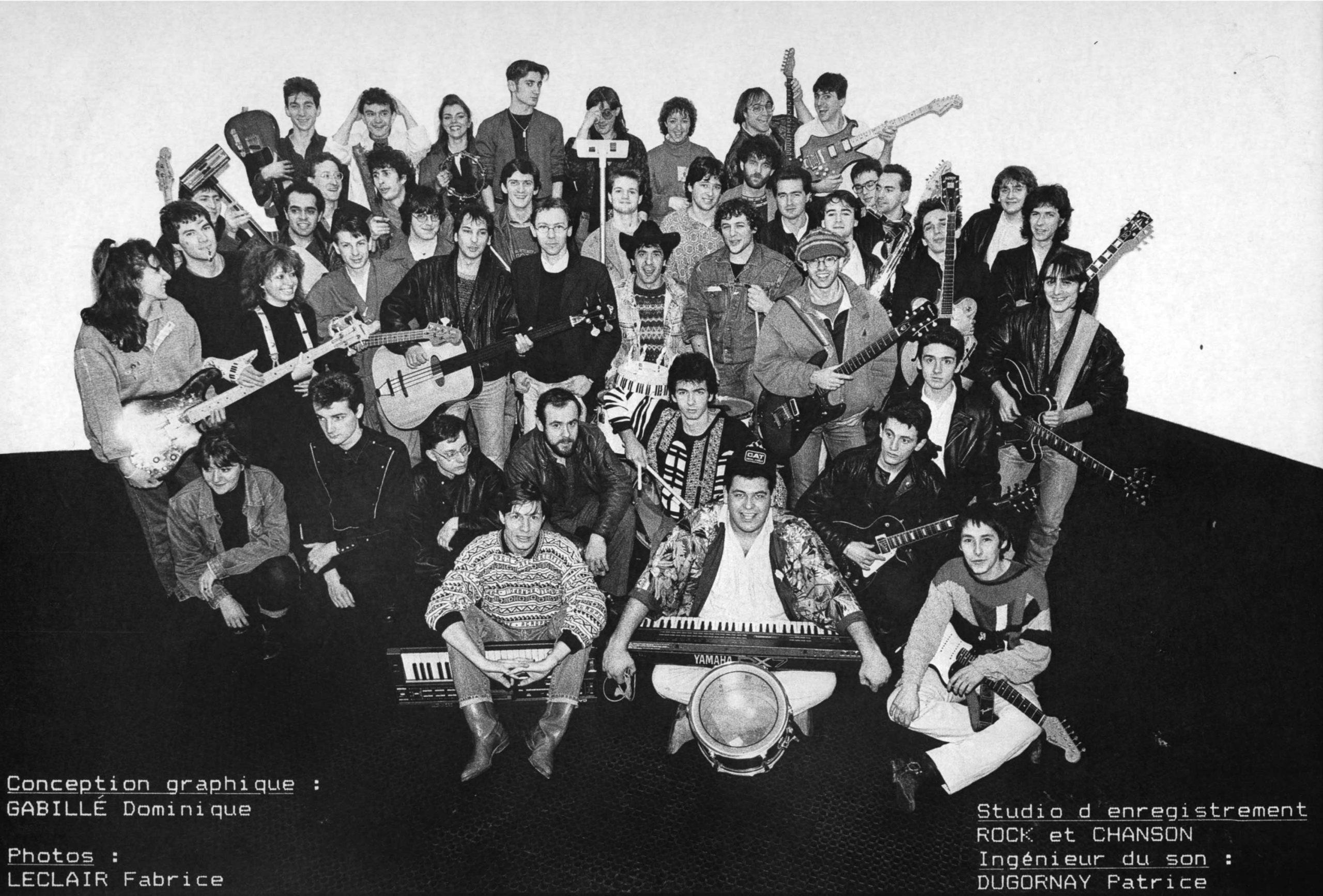 1987 : enregistrement et sortie de la 1ère compilation Rock et Chanson, reflet de cette envie de toute une communauté de musiciens de jouer et réaliser ensemble des projets. <br>Patrice Dugornay y enregistre une dizaine de groupes répétant à Rock et Chanson.